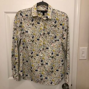 J Crew French Print Popover Shirt